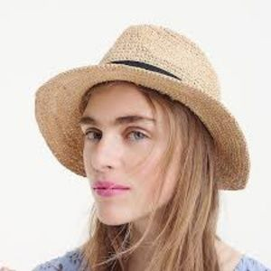 J. CREW Factory Straw Fedora with Ribbon One Size